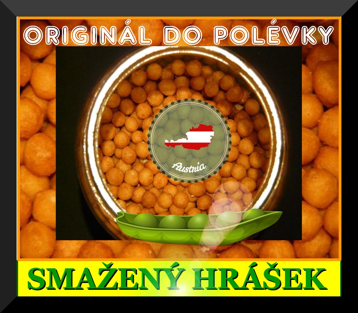 KORNGOLD - originální Rakouský křupavý (smažený) hrášek do polévky. Bez konzervantů. Složení: pšeničná mouka, palmový tuk, sůl, sušený vaječný žloutek prášek, sušené odtučněné mléko, droždí. Množství 310 g. Ideální příloha do polévek.