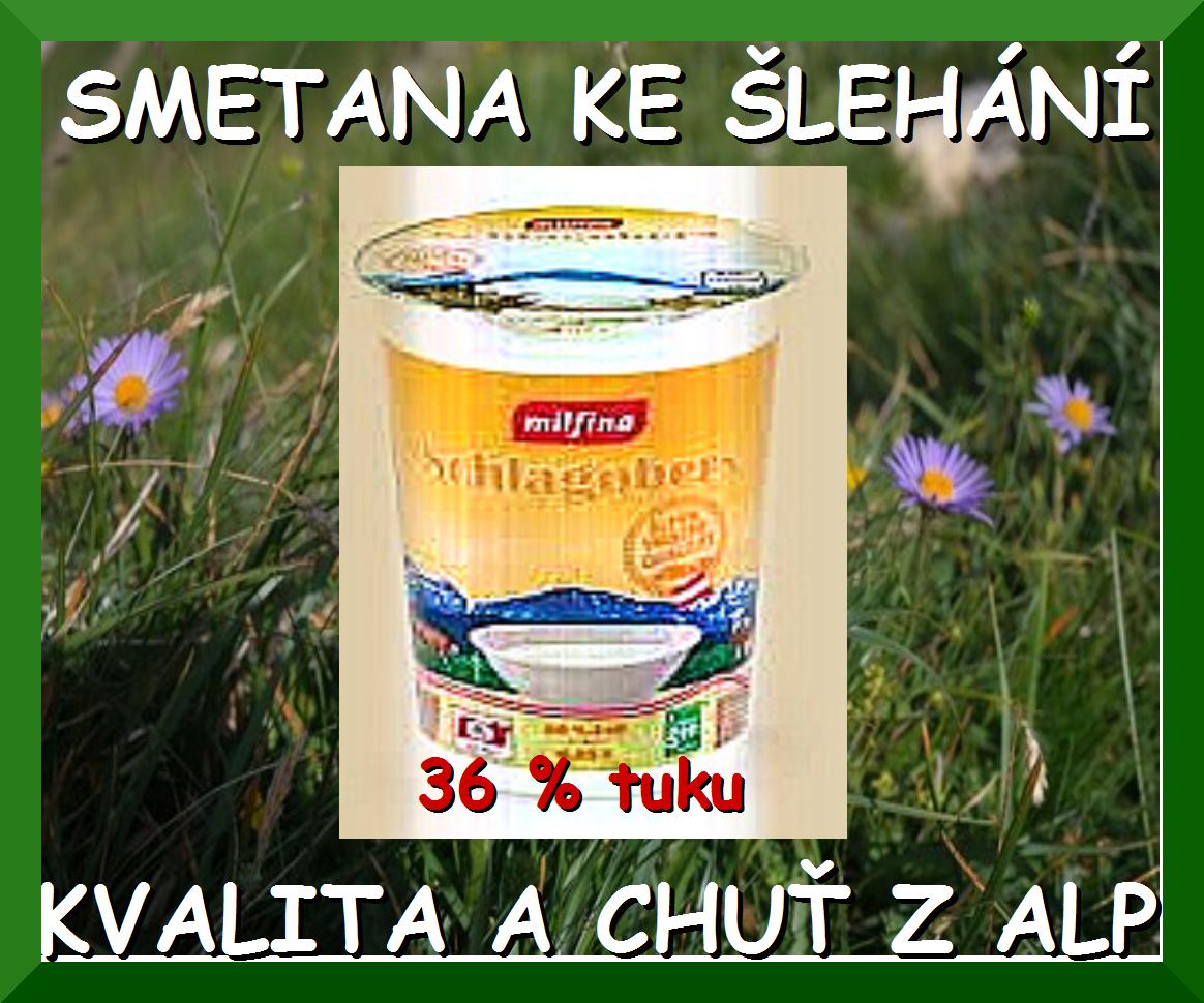 Smetana ke šlehání - 36 % tuku. Množství 250 ml. Alpské mléko garantuje tomuto produktu čerstvost a kvalitu. Vyrobeno bez použití genetických technik. Produkt neobsahuje karagenan ani jiné stabilizátory. Složení: Smetana, tuk min. 36 %. Po otevření ihned spotřebujte.